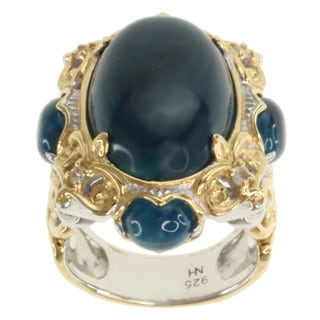 Michael Valitutti Two-tone Opaque Apatite and White Sapphire Ring