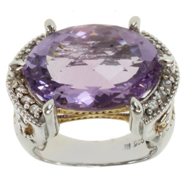 Michael Valitutti Two-tone Prong-set Amethyst and White Sapphire Ring