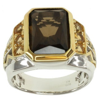 Michael Valitutti Men's Two-tone Whisky Quartz, Citrine and Yellow Sapphire Ring
