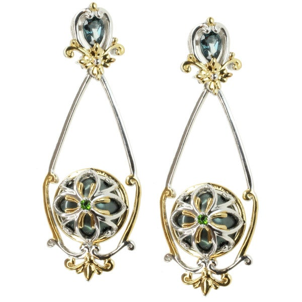 Michael Valitutti Two-tone South Sea Pearl, London Blue Topaz and Chrome Diopside Earrings (11-12 mm)
