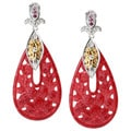 Michael Valitutti Two-tone Carved Red Quartz and Ruby Earrings