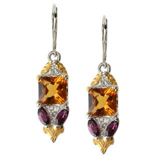 Michael Valitutti Two-tone Citrine, Rhodolite and White Sapphire Earrings