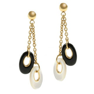 Michael Valitutti 18k Yellow Gold Mother of Pearl and Black Onyx Earrings