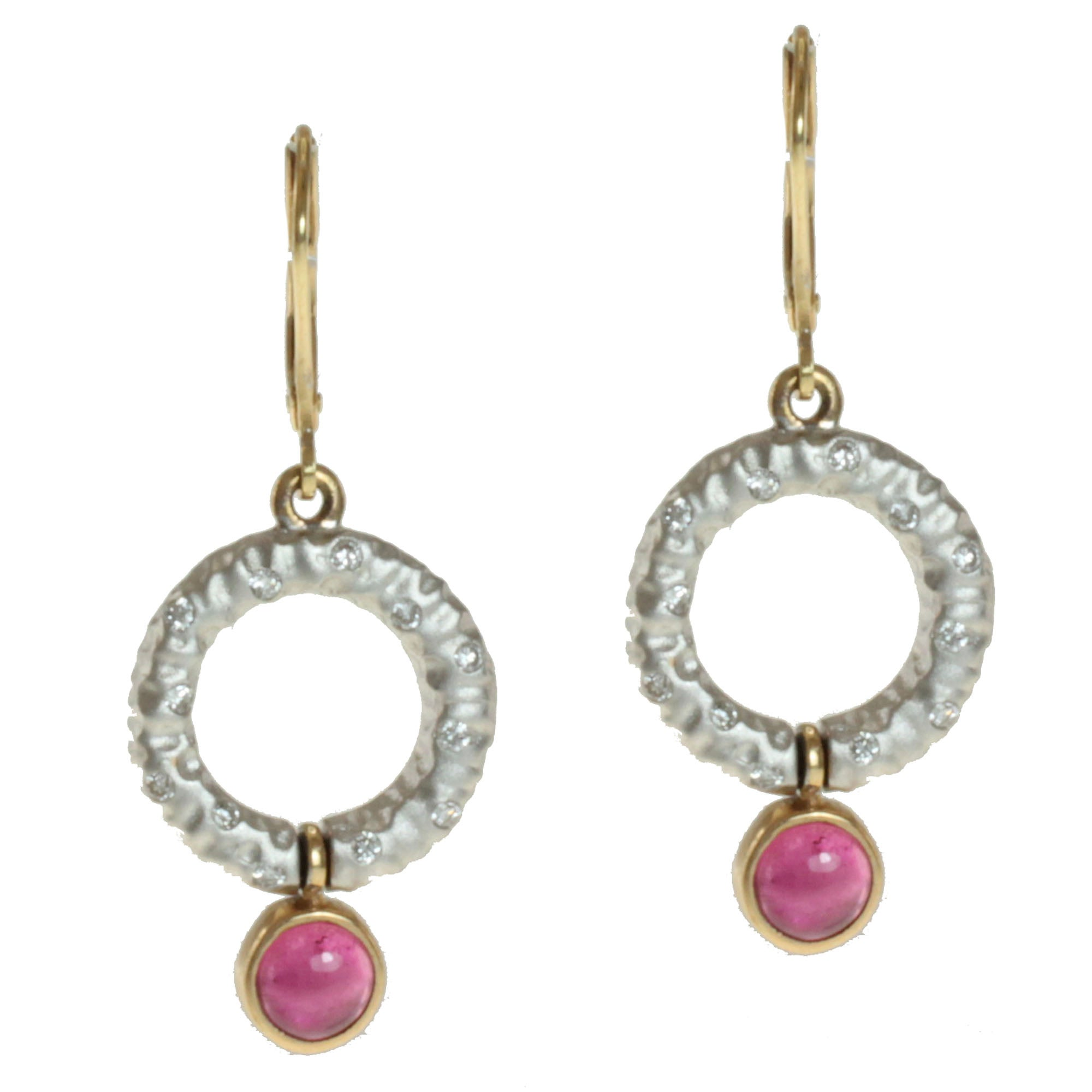 Michael Valitutti 14k Two-tone Gold Pink Tourmaline and Diamond Earrings