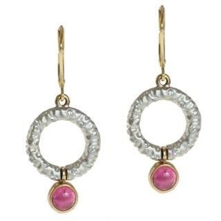 Michael Valitutti 14k Two-tone Gold Pink Tourmaline and Diamond Earrings