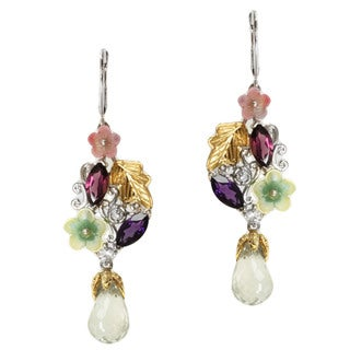Michael Valitutti Two-tone Green Amethyst, Rhodolite, Amethyst, White Sapphire, White Topaz and Shell Flower Earrings