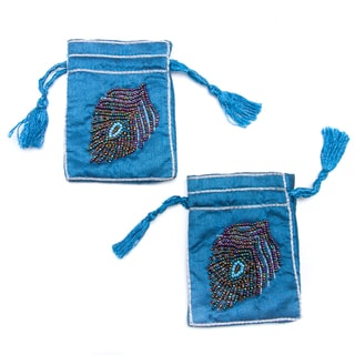 Set of 2 Handmade Small Embroidered Beaded Peacock Feather Jewelry Pouches (India)