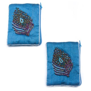Set of Two Handmade Embroidered Beaded Peacock Coin Purses (India)