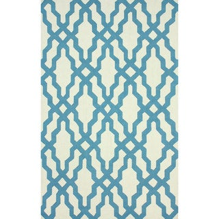 nuLOOM Handmade Wool Moroccan Trellis Blue Area Rug (3'6 x 5'6)