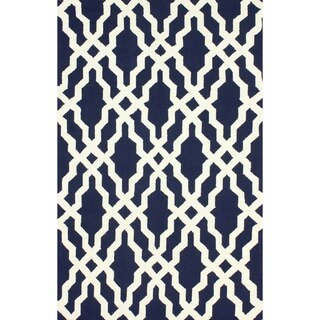 nuLOOM Handmade Wool Moroccan Trellis Navy Blue Rug (3'6 x 5'6)