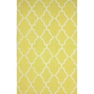 nuLOOM Handmade Wool Moroccan Trellis Yellow Rug (3'6 x 5'6)