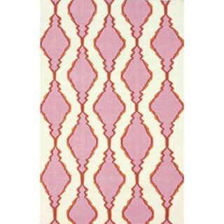nuLOOM Handmade Flatweave Wool Trellis Pink Rug (5' x 8')