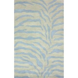 nuLOOM Handmade Zebra Print Wool Powder Blue Rug (5' x 8')