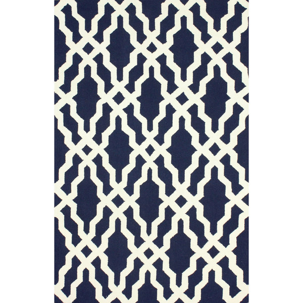 NuLOOM Handmade Wool Moroccan Trellis Navy Blue Rug (5' X