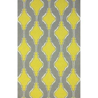 nuLOOM Handmade Flatweave Wool Trellis Yellow Rug (8'6 x 11'6)