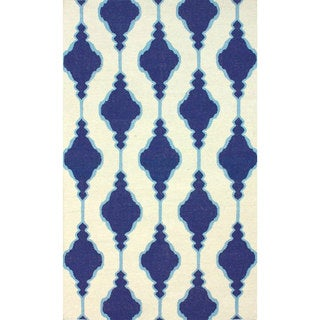 nuLOOM Handmade Flatweave Wool Trellis Blue Rug (8'6 x 11'6)