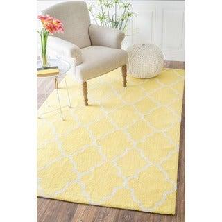 nuLOOM Handmade Wool Moroccan Trellis Yellow Rug (7'6 x 9'6)