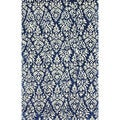 nuLOOM Handmade Wool/ Viscose Filigree Navy Rug (7'6 x 9'6)