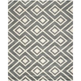 Safavieh Handmade Moroccan Chatham Square-pattern Dark Gray/ Ivory Wool Rug (8' x 10')
