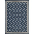 Safavieh Indoor/ Outdoor Courtyard Trellis Pattern Navy/ Beige Rug (4' x 5'7'')