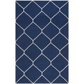 Safavieh Handwoven Moroccan Dhurrie Navy/ Ivory Wool Geometric Area Rug (9' x 12')