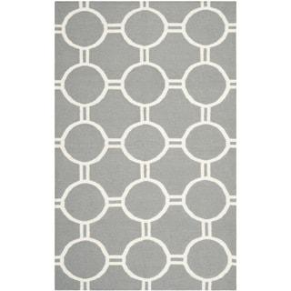 Safavieh Handwoven Low-pile Moroccan Reversible Dhurrie Grey/ Ivory Wool Rug (4' x 6')