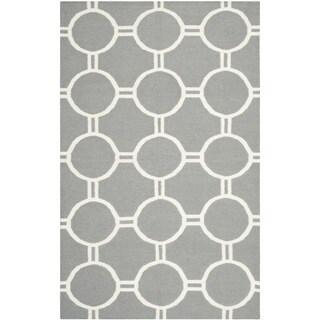 Safavieh Handwoven Moroccan Reversible Dhurrie Rectangular Grey/ Ivory Wool Rug (8' x 10')
