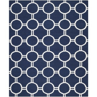 Safavieh Handwoven Moroccan Dhurrie Navy/ Ivory Wool Area Rug (8' x 10')