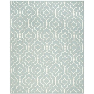 Safavieh Handwoven Moroccan Reversible Dhurrie Trellis-pattern Light Blue/ Ivory Wool Rug (9' x 12')