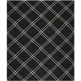 Safavieh Hand-woven Moroccan Dhurrie Black/ Ivory Wool Rug (9' x 12')