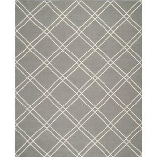 Safavieh Handwoven Moroccan Reversible Dhurrie Grey/ Ivory Wool Geometric-pattern Rug (8' x 10')