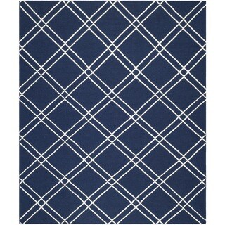 Safavieh Handwoven Moroccan Dhurrie Navy/ Ivory Wool Area Rug (9' x 12')