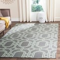 Safavieh Hand-woven Moroccan Dhurrie Grey/ Light Blue Wool Rug (9' x 12')