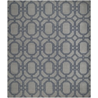 Safavieh Hand-woven Moroccan Reversible Dhurrie Grey/ Dark Blue Wool Rug (8' x 10')