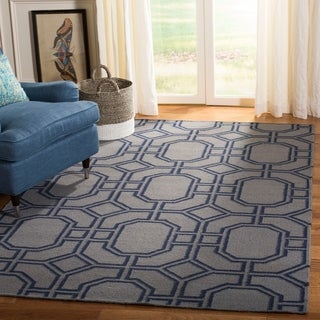 Safavieh Hand-woven Moroccan Reversible Dhurrie Grey/ Dark Blue Wool Rug (9' x 12')