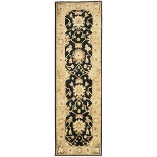 Safavieh Hand-knotted Oushak Black/ Light Gold Wool Rug (3' x 10')