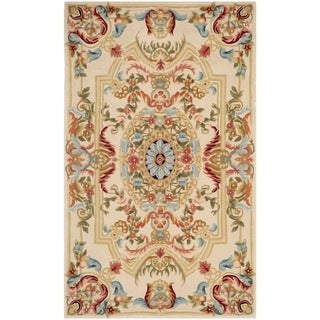 Safavieh Handmade Savonnerie Sage/ Beige Wool Rug (4' x 6')