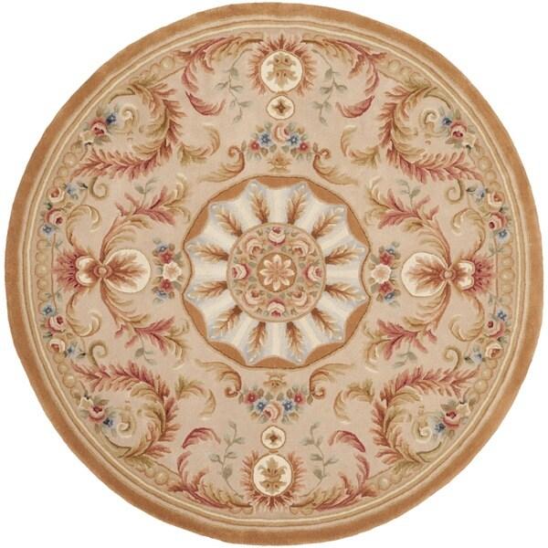 Safavieh Handmade Savonnerie Beige/ Gold Wool Rug (6' Round)