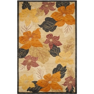 Safavieh Hand-knotted Vegetable Dye Tibetan Black/ Rust Wool Rug (6' x 9')