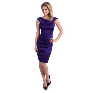 London Times Women's Purple Back Bow Sheath Dress