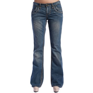 Stitch's Women's Blue Dark Wash Boot Cut Jeans