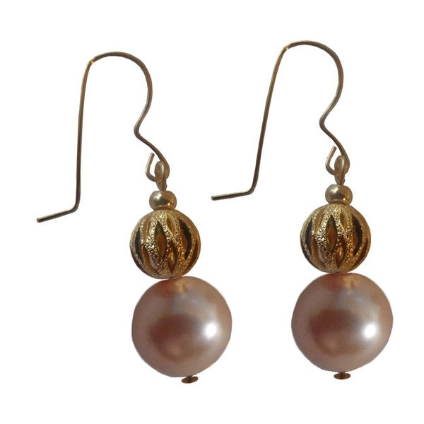 14k Gold-filled Faux Peach Pearl and Gold Ball Dangle Earrings