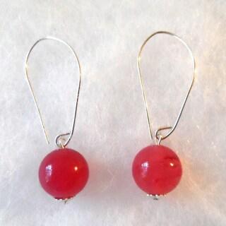 Ann Marie Lindsay Handmade Sterling Silver Marquis Pink Jade Dangle Earrings