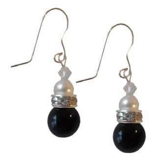 Sterling Silver Black Onyx Baroque Fresh Water Pearl and Crystal Earrings