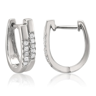 14k Gold 1/4ct TDW Princess Diamond Double Hoop Earrings (H-I, I1-I2)