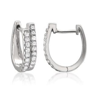 14k Gold 1/2ct TDW Princess Diamond Double Hoop Earrings (H-I, I1-I2)