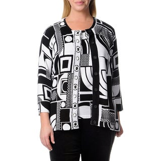 Berek Women's Plus Black/ White Geometric Print Cardigan