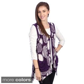 Lily Women's Velvet Printed V-Neck Vest
