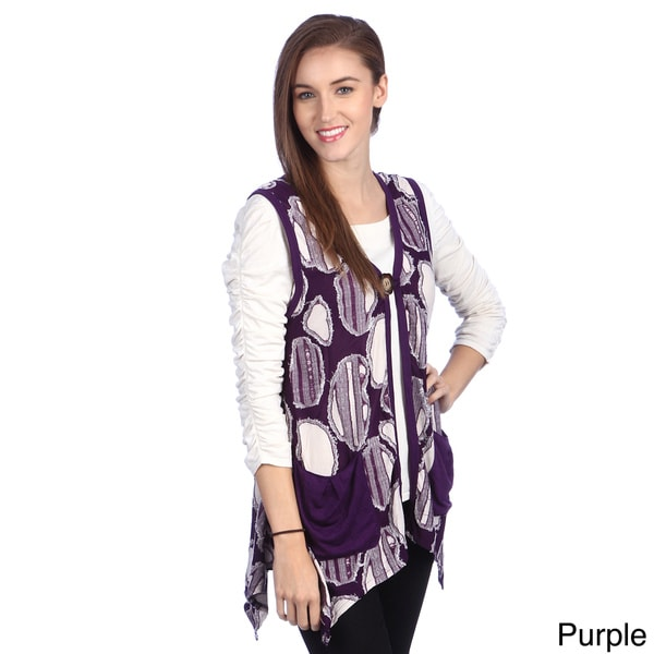 Firmiana Lily Women's Velvet Printed V-Neck Vest