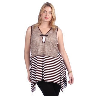 Lily Women's Plus Size Brown/ White Striped Vest